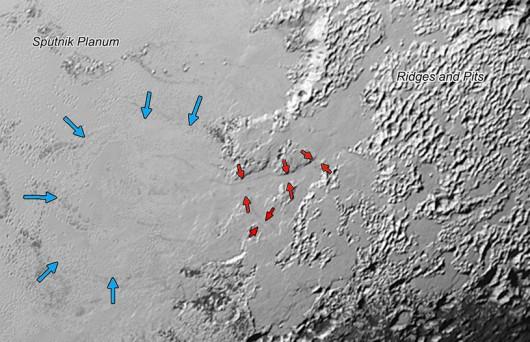 Rejon Sputnik Planum, gdzie naukowcy znaleźli ślady spływającego lodowca /NASA/JHUAPL/SWRI /materiały prasowe