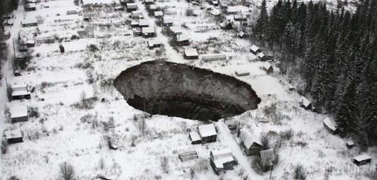 Solikamsk, Rosja - W 10 miesięcy zapadlisko kilkukrotnie się powiększyło pochłaniając domy - powstało
