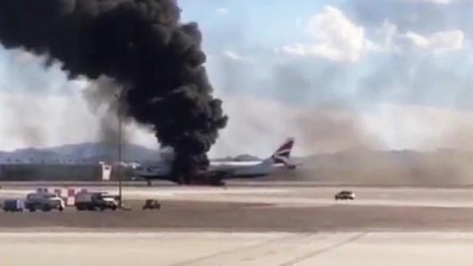 USA - Podczas kołowania na lotnisku w Las Vegas zapalił się silnik w samolocie pasażerskim linii British Airways -3