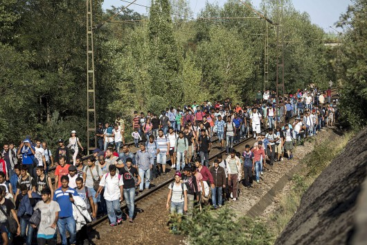 MIgrants stuck at Bicske station