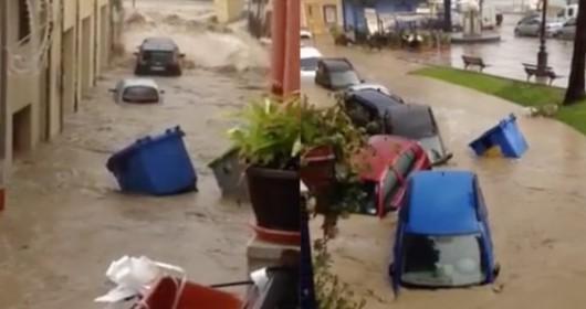 Włochy - Nawałnice na Sycylii, samochody pływały w miastach -2