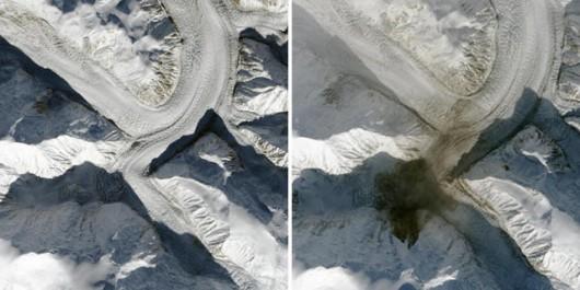 Kanada - Z Mount Steele, jednej z najwyższych gór ześlizgnęła się z prędkością bliską 200 km_h ogromna ilość lodu i skał