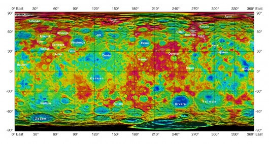 Mapa topograficzna Ceres przygotowana w oparciu o zdjęcia wykonane przes sondę dawn w sierpniu i wrześniu 2015 roku 2