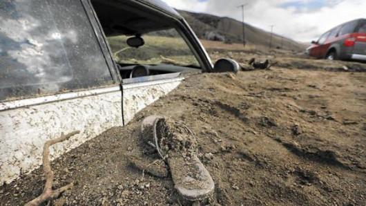 USA - Lawina błotna na pustyni Mojave zalała 5 km drogi ekspresowej nr 58 -12
