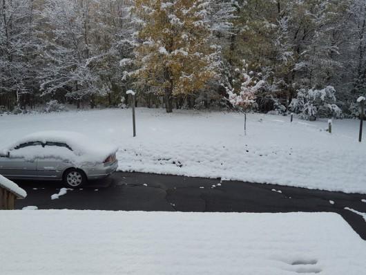 USA - Pierwszy śnieg w stanie Nowy Jork