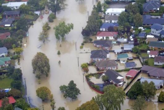 05032014 News Photo: John Kirk-Anderson/ The Press / Fairfax NZ Flooding, Christchurch. Heathcote River near Beckford Road, Fifield Terrace, left, Riverlaw Terrace right.