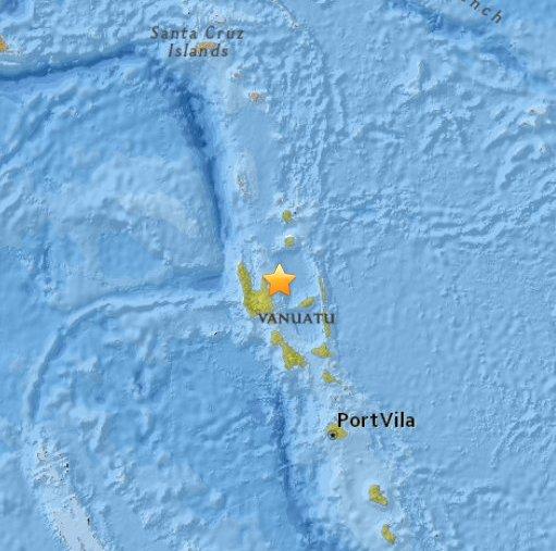 Vanuatu - Silne trzęsienie ziemi na głębokości 127 km, magnituda 7.1