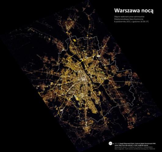 Warszawa nocą z ISS