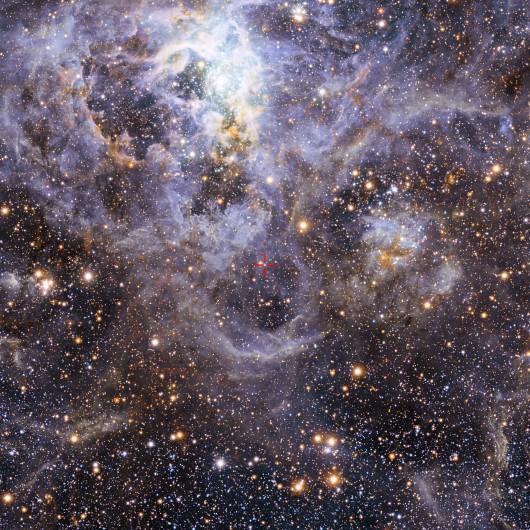 Lokalizacja VFTS 352 w Wielkim Obłoku Magellana, Źródło: ESO/M.-R. Cioni/VISTA Magellanic Cloud survey