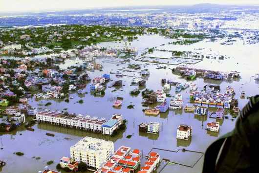 An aerial view of flood affected areas of Chennai