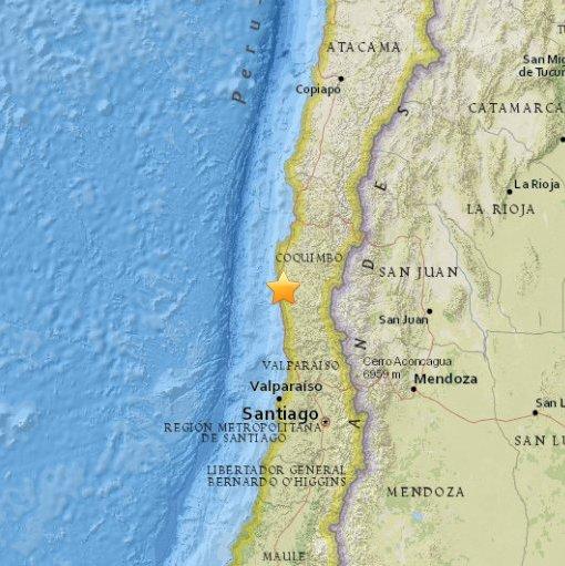 Chile - Trzęsienie ziemi o sile 6.8 w skali Richtera