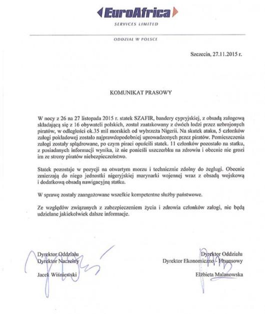 Oświadczenie armatora ws. porwanych marynarzy