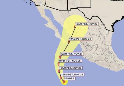 Wyjątkowo silny i groźny huragan Sandra kieruje się na Meksyk