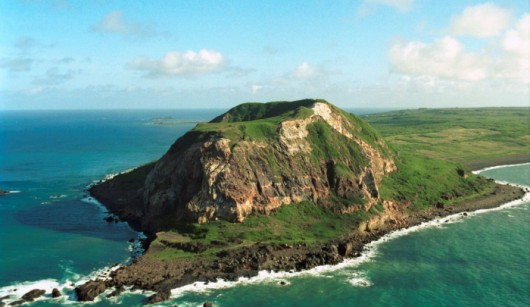 Aerial view of Mount Surabuchi on the Island of Iwo Jima, Japan.