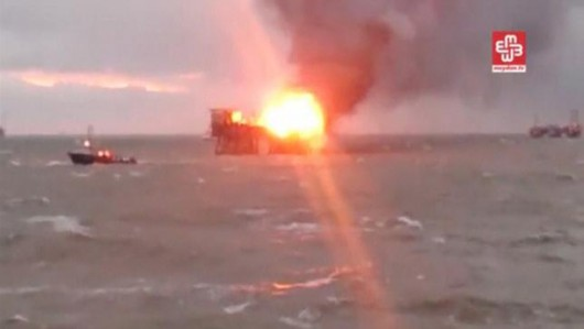 A still image from a video footage shows an oil platform on fire in the Caspian Sea, Azerbaijan, December 5, 2015. REUTERS/MEYDAN TV via Reuters