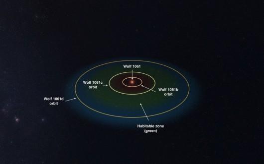 Symulacja orbit planet, krążących wokół gwiazdy Wolf 1061 /Wykonane z wykorzystaniem programu Universe Sandbox 2 ze strony universesandbox.com /materiały prasowe