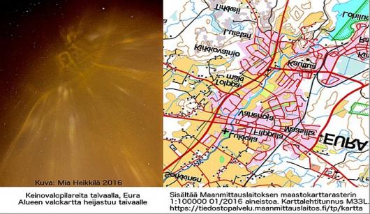 Finlandia - mapa miasta na nocnym niebie Foto: Twitter