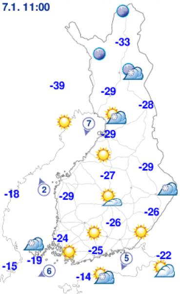 Temperatura w Finlandii o godz. 10 naszego czasu (Finnish Meteorological Institute)