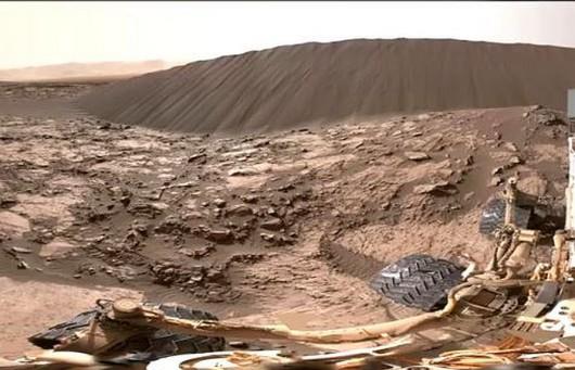 W tle panorama wydmy Namib