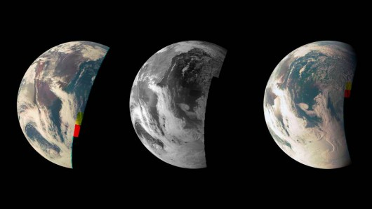 Zdjęcia wykonane przez sondę Juno podczas ostatniego przelotu obok Ziemi w dniu 9 października 2013r NASA/ JPL