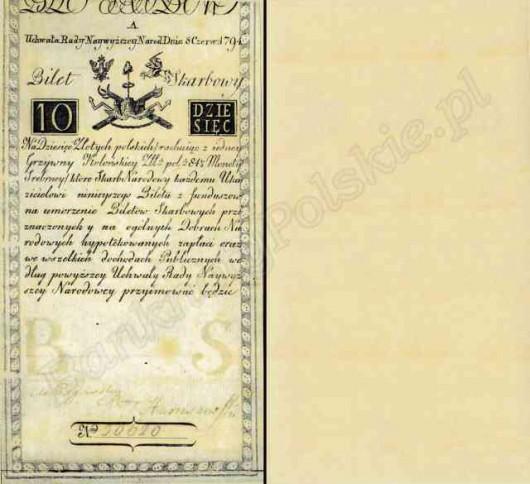 Bilety skarbowe Insurekcji Kościuszkowskiej 1794 - 10 zlp