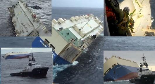 Modern Express - próby podjęcia holowania przechylonego statku statku Foto: YT