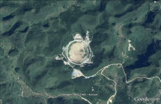 Zdjęcie satelitarne radioteleskopu