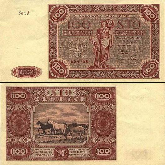 Banknot 100zł - 1947