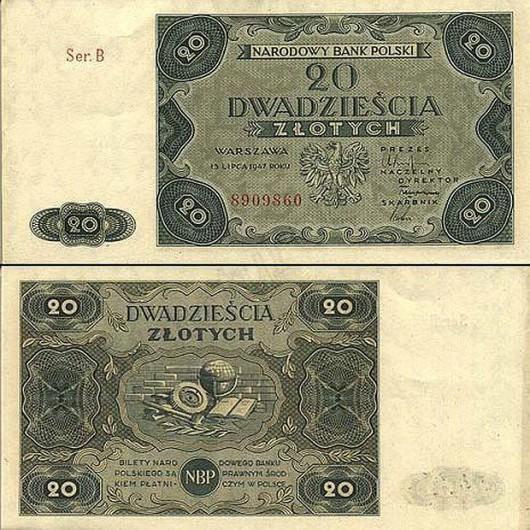 banknot 20zl - 1947