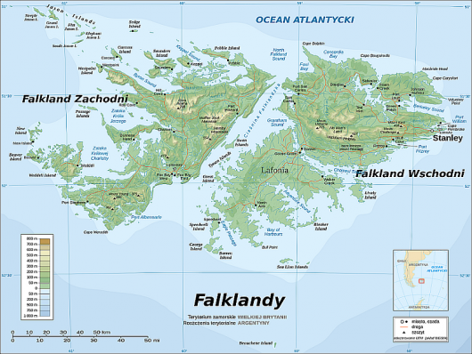 Falklandy - mapa