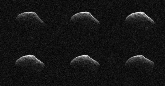 Obraz P-2016 BA14 uzyskany z pomocą anteny Deep Space Network w Goldstone, 23 marca. Kometa była wtedy 3,6 miliona kilometrów od Ziemi