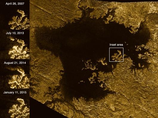 """Obszar Ligeia Mare na powierzchni Tytana z zaznaczoną """"tajemniczą wyspą"""" NASA/ JPL"""