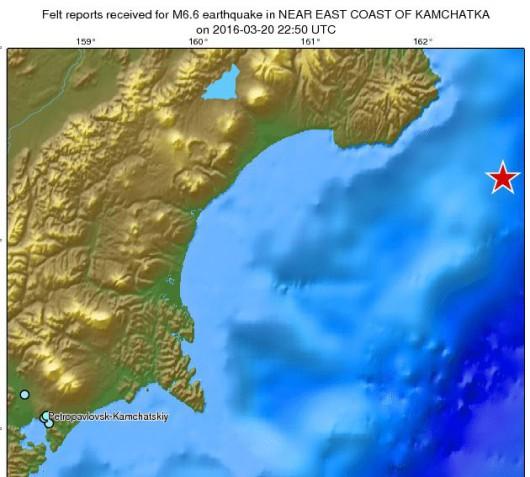 Trzęsienie ziemi na Kamczatce o magnitudzie 6,6.