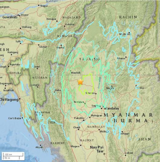 Birma - Trzęsienie ziemi o sile 6.9 w skali Richtera, wstrząsy odczuwalne były w Indiach