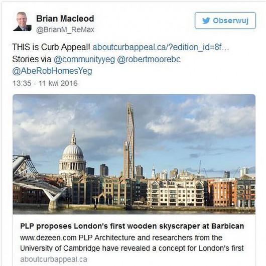 PLP proponuje pierwszy drewniany wieżowiec w Londynie