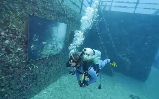 Podwodna galeria na wraku statku