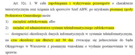 Polska - Pojawił się projekt nowej ustawy, ABW będzie mogło blokować dowolne strony internetowe bez zgody sądu