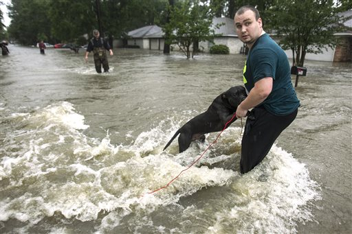 Taylor McKenzie holds on to his dog, Big Black, as he walks out of high water in the Timber Lakes Timber Ridge subdivision on Monday, April 18, 2016, in The Woodlands, Texas. More than a foot of rain fell Monday in parts of Houston, submerging scores of subdivisions and several major interstate highways, forcing the closure of schools and knocking out power to thousands of residents who were urged to shelter in place. (Brett Coomer/Houston Chronicle via AP)