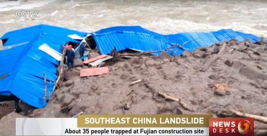 Chiny - Spadło 200 lmkw deszczu, lawina błotna przykryła kwatery 35 robotników