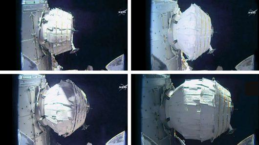Fazy nadmuchiwania modułu BEAM /Kredyt: NASA TV