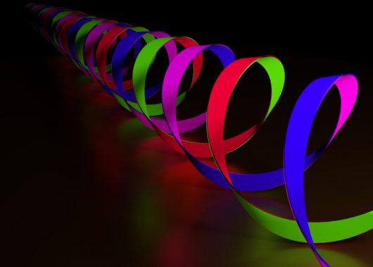 Ilustracja skręconych fotonów światła, z połową całkowitego momentu pędu. (Dzięki uprzejmości: John Donegan / Trinity College Dublin)