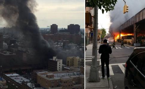 Nowy Jork, USA - Wybuchła cysterna znajdująca się na torach w nadziemnej części metra -2