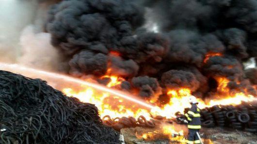 Słowacja - W miejscowości Belusa spaliło się 70 ton opon