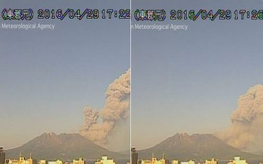 Sakurajima - erupcja 29.04.2016