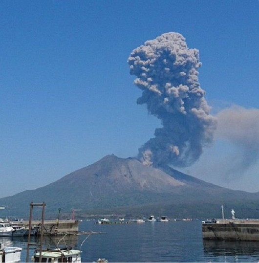 Sakurajima - erupcja 30.04.2016