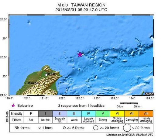 Tajwan - trzęsienie ziemi M6.3
