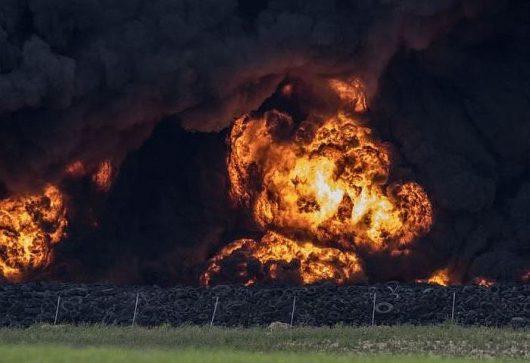 W Hiszpanii płonie nielegalne składowisko opon 8