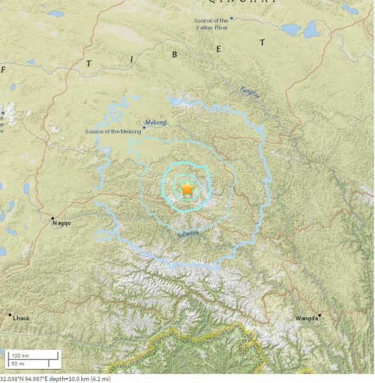 Wstrząsy sejsmiczne w Tybecie, Chiny