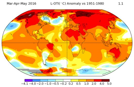 Anomalie temperatury podczas wiosny (marzec, kwiecień, maj) 2016