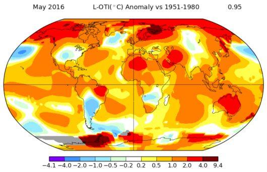 Anomalie temperatury w maju 2016